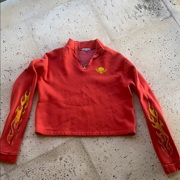red cropped quarter zip w flame accents